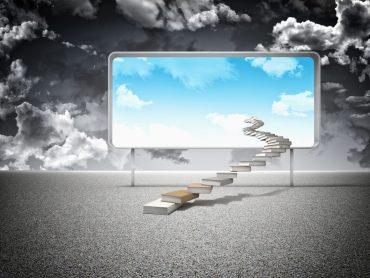 3d books stair and board with blue sky © tiero - Fotolia.com