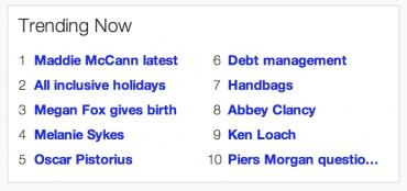 yahoo uk trending