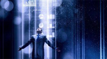 Businessman in stream of data and light with blue background © Sergey Nivens – Fotolia.com