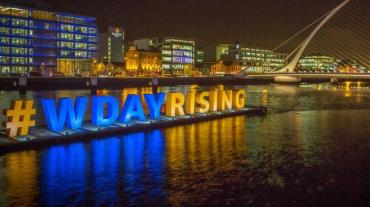 Workday Rising EMEA 2015 illuminated hashtag sign on Dublin's River Liffey