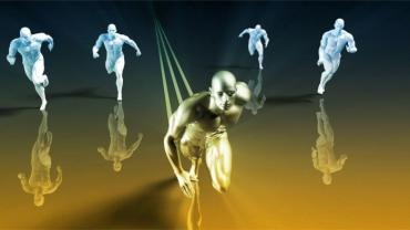 Stylized figures racing, one in lead © kentoh - Fotolia.com