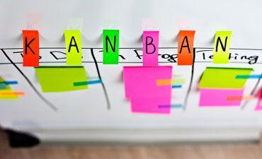 Angled view of Kanban board with colored stickers © karashaev - Fotolia.com