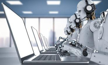Humanoid robots working with headset and notebook © Phonlamai Photo - shutterstock