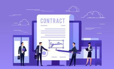 Drawing of business people signing contract as e-signature © aklionka - shutterstock