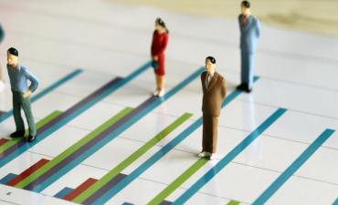 Miniature people standing on a bar graph © Hyejin Kang - shutterstock