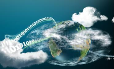 Fast cloud computing around globe with binary digits © T. L. Furrer - shutterstock