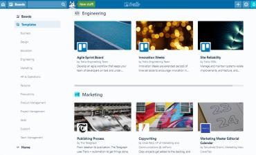 Screenshot of Trello community template gallery