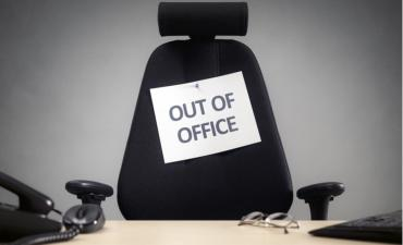 Business chair with out of office sign absence time off © Brian A Jackson - shutterstock