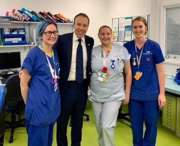 Image of Health Secretary Matt Hancock and nurses