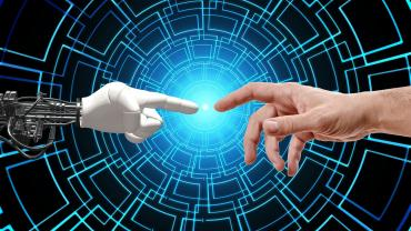 Image of AI machine touching hands with a human