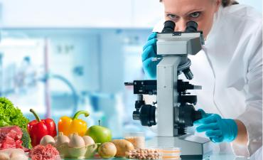 Quality control expert with laboratory microscope inspects food and beverage specimens © Alexander Raths