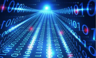 Binary bridge scales to blue light of digital future © Tex vector - shutterstock