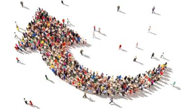 People with direction - individuals moving as a group in upwards arrow © Digital Storm - shutterstock