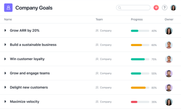 Asana Goals example list