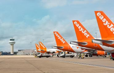 Image of easyJet planes on the runway