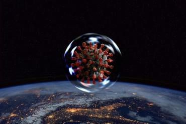 Image of COVID-19 virus and the world