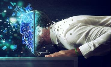 Businessman with his head inside a cyberspace through the laptop © alphaspirit - Shutterstock