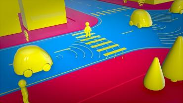 Animated image of a driverless car on the street