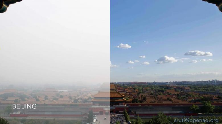 Before and after image of Beijing air pollution 2008 to now
