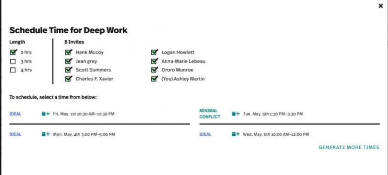 deep work schedule - Uplevel
