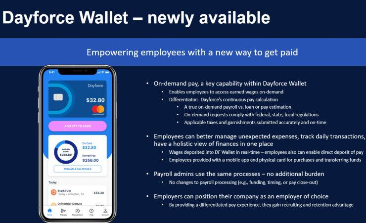 HR Tech 2020 Dayforce Wallet slide via Ceridian
