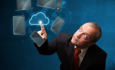 Businessman touching high technology cloud service © ra2 studio - Fotolia.com
