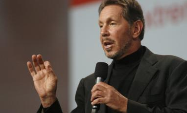 Oracle CEO Larry Ellison delivers a keyn