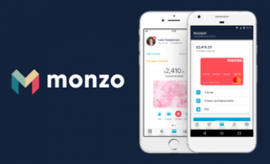 Monzo logo and mobile app - composite of Monzo images