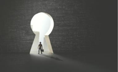 Man solving complex problem finds surreal keyhole to success © frankie's - shutterstock