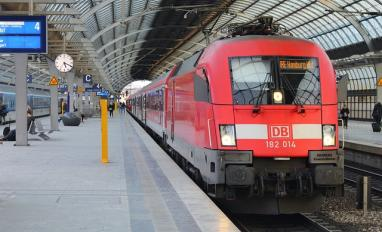 Image of a Deutsche Bahn train at a station in Germany