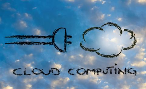plug and cloud on sky, concept of cloud computing