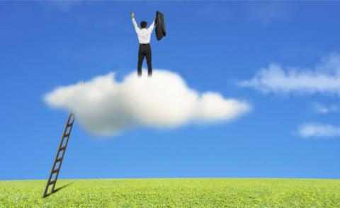 Businessman standing on cloud with ladder, meadow, blue sky © TSUNG-LIN WU - Fotolia.com