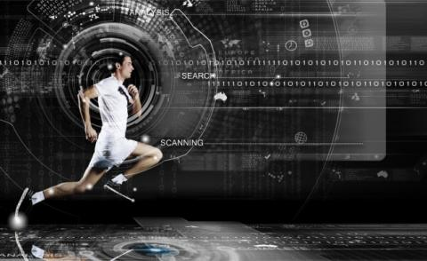 Running man with digital background © Sergey Nivens - Fotolia