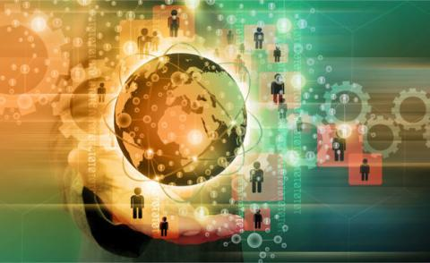 Businessman holding gold globe with social network concept © sommai - Fotolia.com