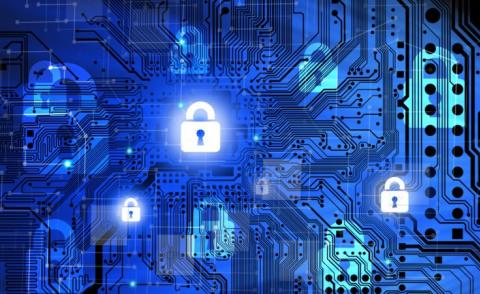 Data security concept in blue with circuit board background © adrian_ilie825 - Fotolia.com