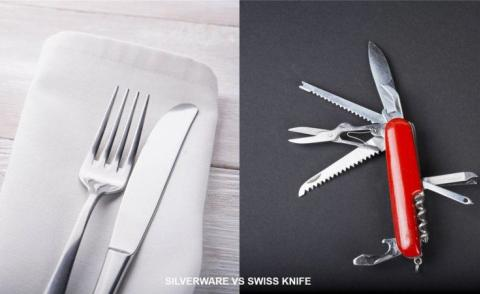 Unit4 silverware vs swiss knife - shutterstock images