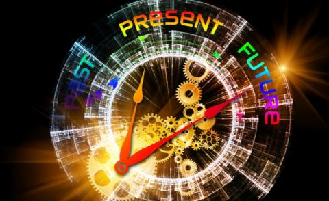 Abstract clock symbols and graphics on technology, past, present, future © agsandrew - shutterstock