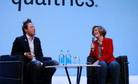Ryan Smith with Adaire Fox-Martin at Qualtrics X4 London 2019