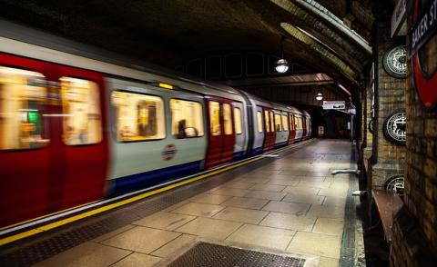 Image of a tube pulling into the station in London