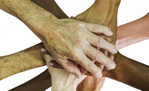 An image of different people holding hands