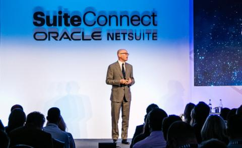 Evan Goldberg EVP Oracle NetSuite speaks at SuiteConnect London 2019