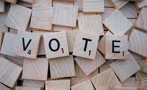 Image of scrabble letters spelling out 'Vote'