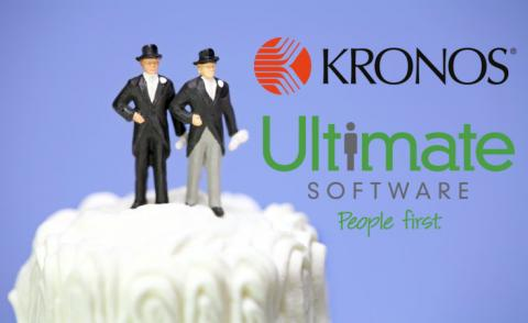 Composite Kronos and Ultimate logos with miniature couple on wedding cake © Amy Walters - shutterstock