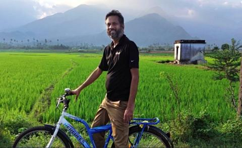Sridhar Vembu, Zoho CEO, on bicycle in rural India