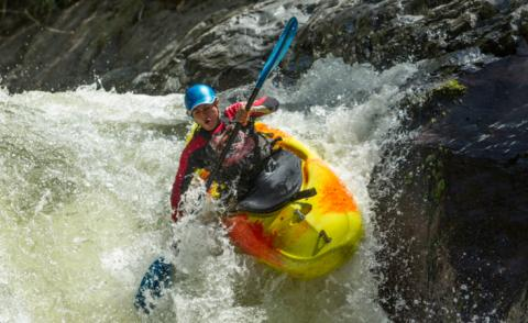 Agile kayak jumps waterfall, Sangay National Park, Ecuador © Ammit Jack - shutterstock