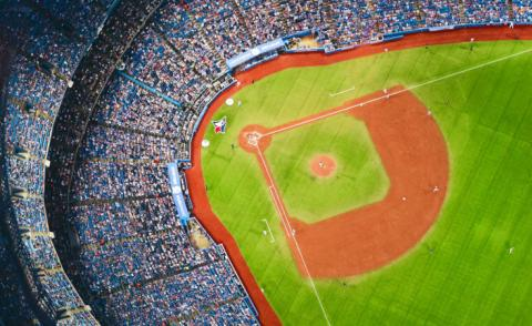 Aerial view of baseball pitch at Toronto Blue Jays stadium - Photo by Tim Gouw on Unsplash