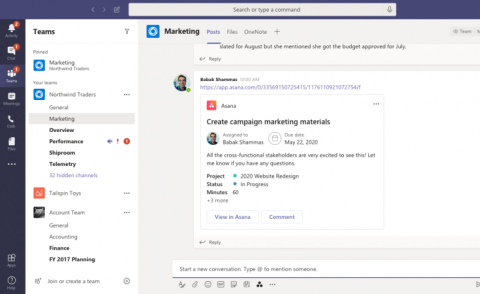 Asana task within Microsoft Teams - screenshot