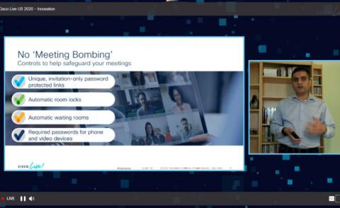 Cisco Live 2020 screengrab - WebEx no meeting bombing