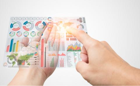 Infographic display with hands data storytelling © Quality Stock Arts - shutterstock