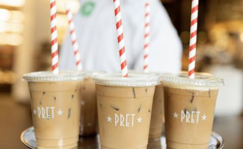 Image of Pret coffee on a tray